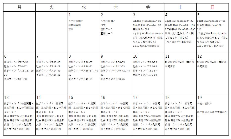 生徒Aさんカリキュラム表